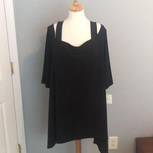 NWT Ellen Tracy Cold shoulder Black Tunic